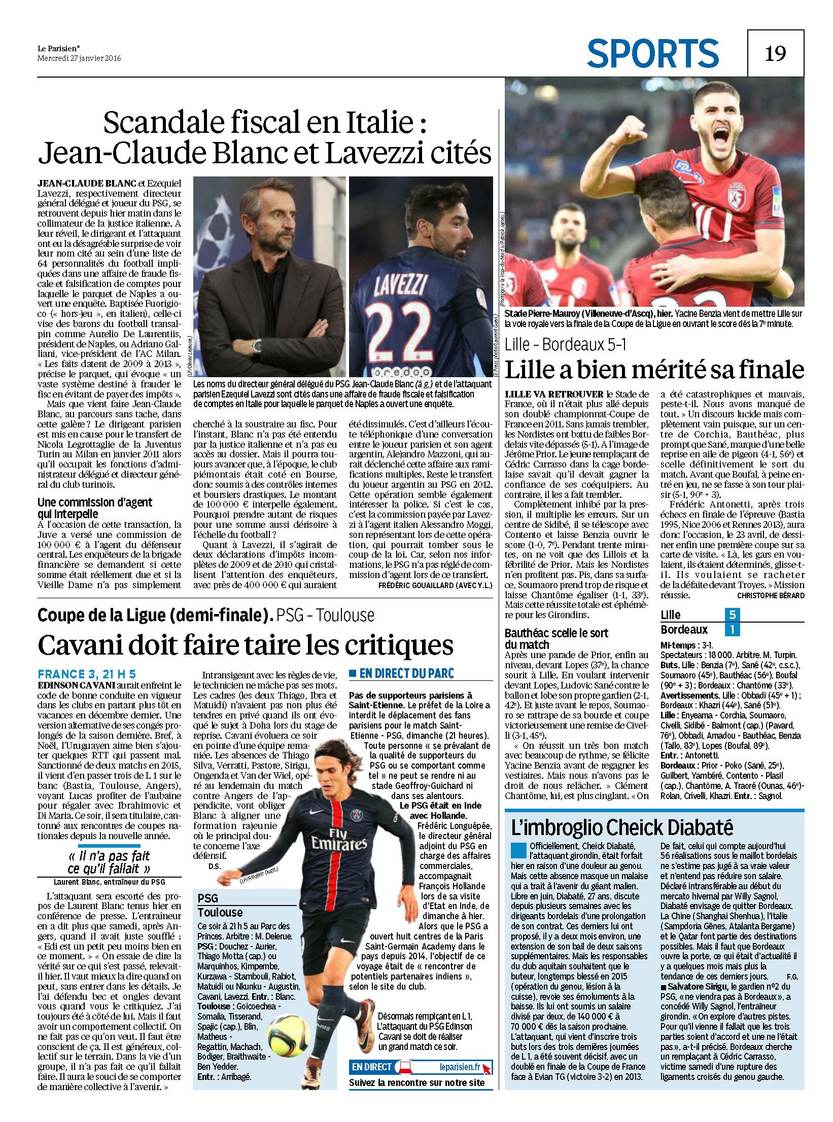 Coupe de la ligue revue de presse 1 2 finale psg - Coupe de la ligue demi finale ...