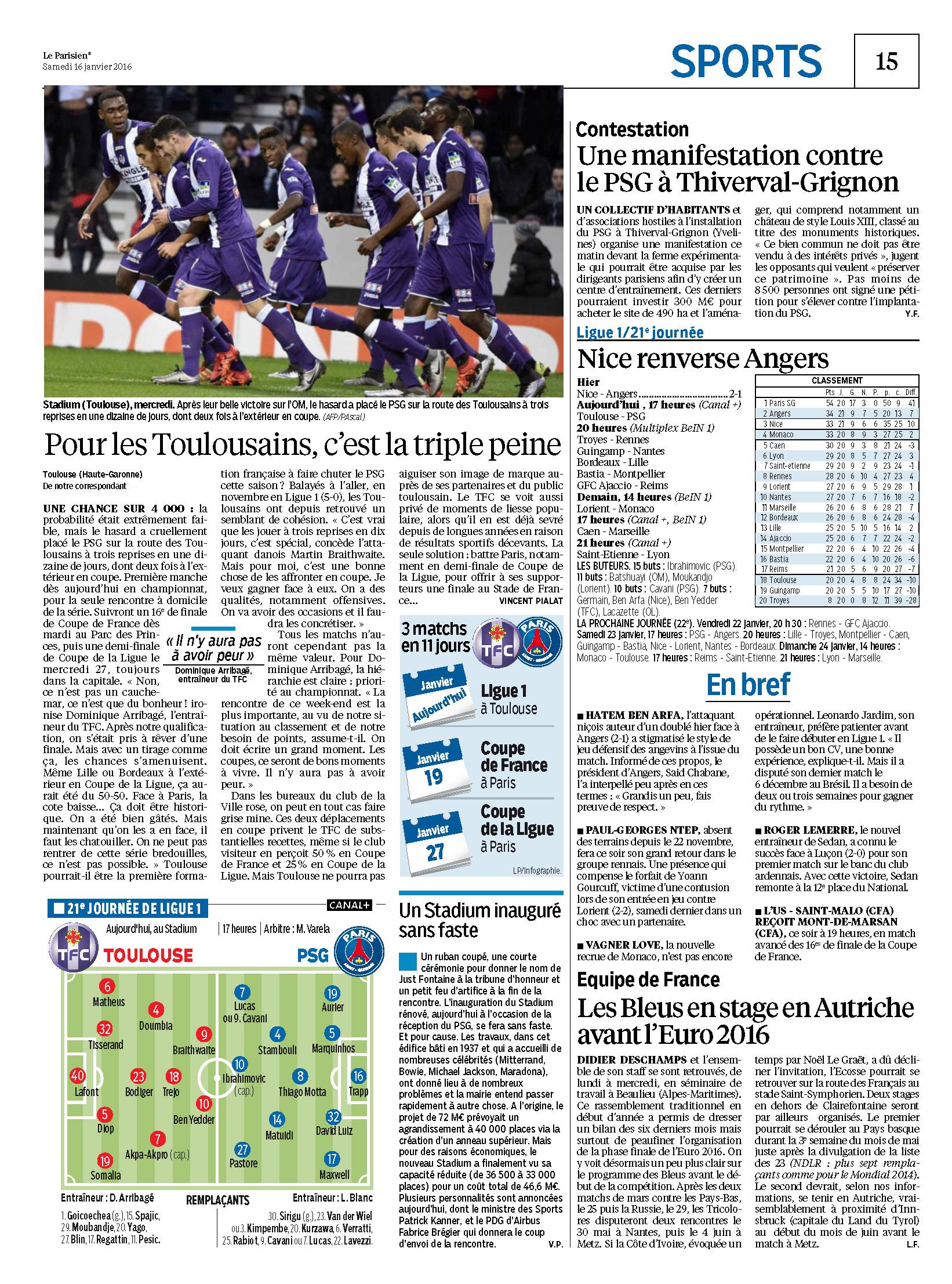 Le parisien journal de paris du samedi 16 janvier 2016 page 2 onlynous - Le journal de toulouse ...