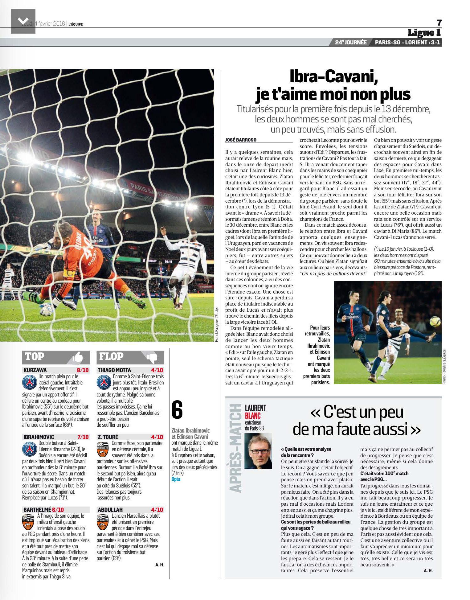 ligue 1   revue de presse    psg  u2013 fc lorient  parc des